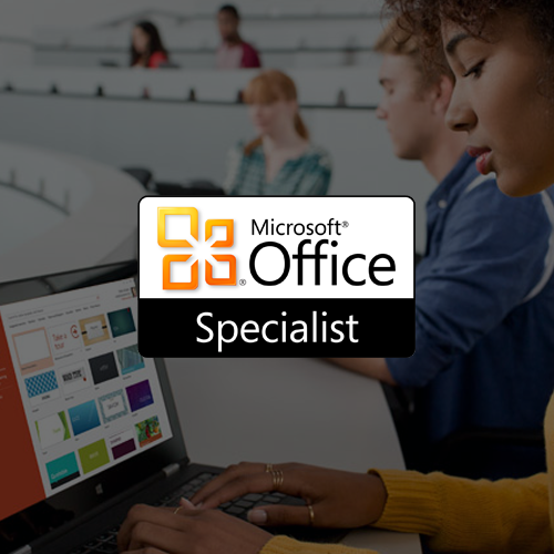 Microsoft Office Specialist Logo on a grey out overlay